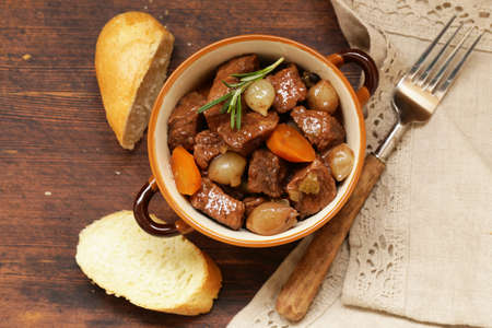 comfort food: Traditional  beef goulash - Boeuf bourguigno. Comfort food. Stew meat with vegetables Stock Photo