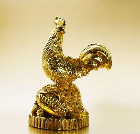 golden: symbol of the new year, golden cock, oriental calendar Stock Photo