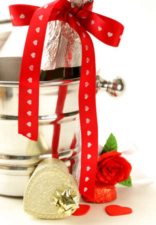 st  valentine: Flowers and gifts for the holiday symbols St. Valentine Stock Photo