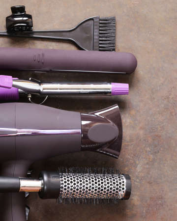 curling: Set the tools hairdressers - hair dryer, curling iron, comb