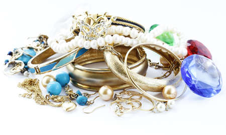 gold jewelry and pearls, bracelets and chains Stock Photo