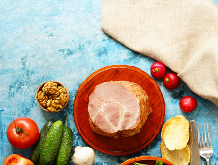 Baked meat with spices and vegetables for lunch Stock Photo