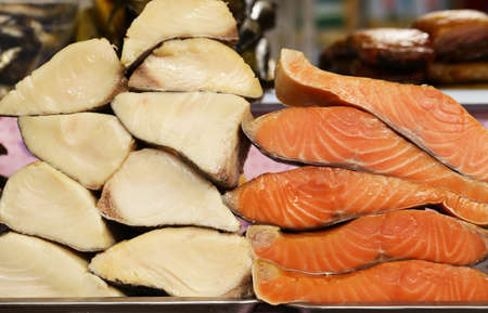 Farmers market -  assortment fish salted and smoked red and white (salmon, balyk)