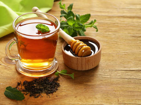 flavored: Mint flavored tea in a glass cup