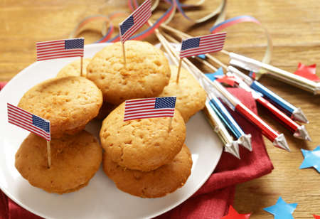 Traditional food muffins for the celebration of July 4 Stock Photo