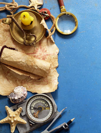 Vintage map, compass, magnifier - adventure and treasure hunt