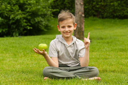 A boy in a park under a tree with an apple - a concept I have an idea! Stock Photo