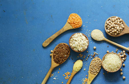 Different types of cereals - buckwheat, chickpeas, rice, quinoa, lentils