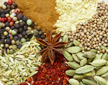 Various spices (cardamom, paprika, coriander, fennel) on a wooden background 版權商用圖片