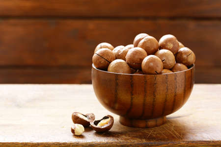 natural macadamia nuts in shell