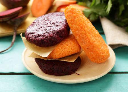 vegetable carrot and beet cutlets - vegetarian food