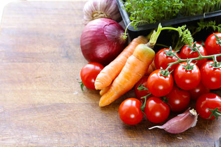 fresh organic vegetables and herbs Stock Photo