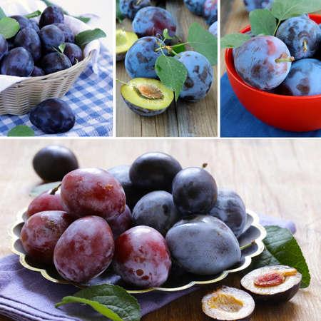 collage ripe organic plum