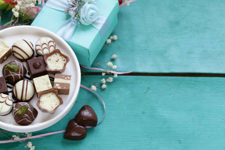 chocolate pralines for Valentines day holiday