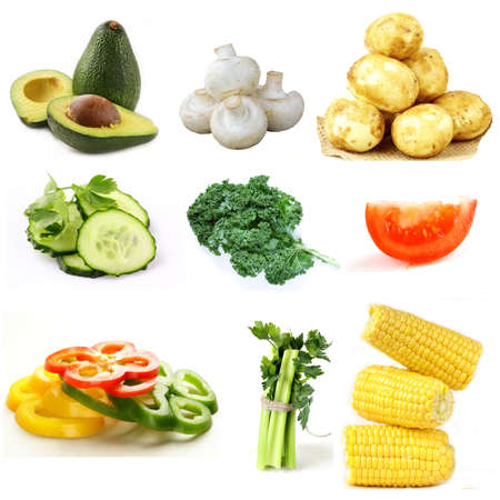 assortment of organic natural vegetables on a white background Stockfoto