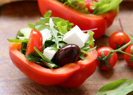 fresh salad with tomatoes and feta cheese