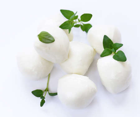 fresh natural mozzarella cheese with thyme leaves 스톡 콘텐츠