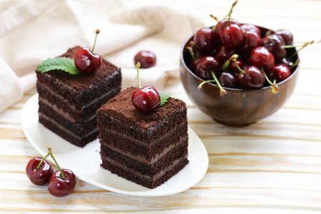 super chocolate truffle cake with fresh berries Stock Photo