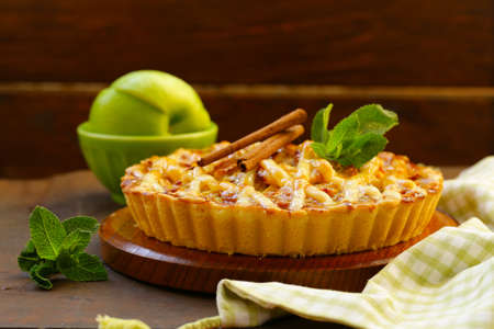 traditional apple pie made of puff pastry with cinnamon