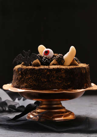 super chocolate cake with halloween decor Stock Photo