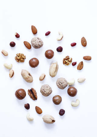 various nuts - macadas, cashews, almonds and walnuts