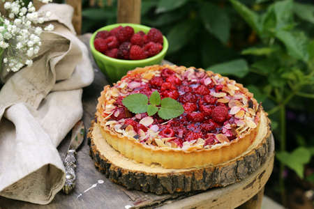 short pastry pie with fresh raspberries, rustic style