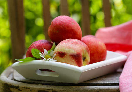 fresh organic peach fruit, rustic still life