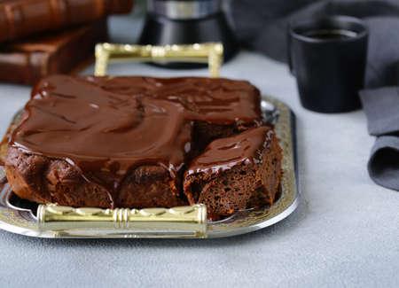 chocolate brownie cake with ganache 版權商用圖片