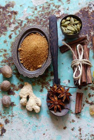 set of spices on iron old background Imagens