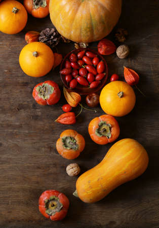 autumn still life with pumpkins and berries Banque d'images - 118460159