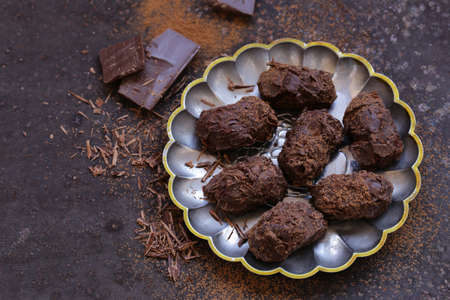 homemade chocolate truffle candy sweets