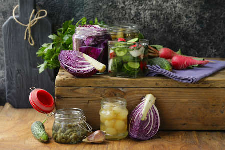 pickled vegetables, probiotic and fermentation Imagens
