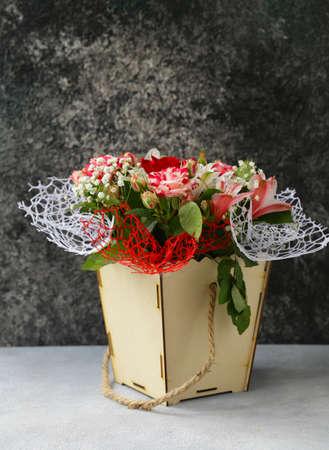 beautiful festive bouquet of spring flowers