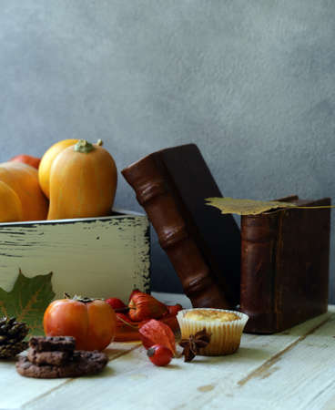autumn still life with pumpkins and berries