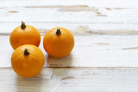 autumn still life with small orange pumpkins