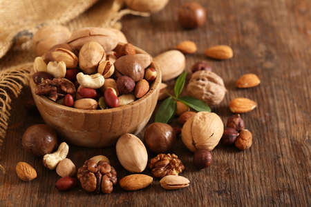 organic mix nuts on a wooden table