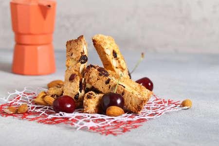 traditional italian cantuccini biscotti cookies 写真素材