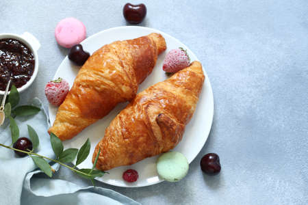 traditional french croissant for breakfast