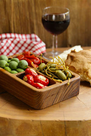 Italian antipasti snacks for wine and cheese