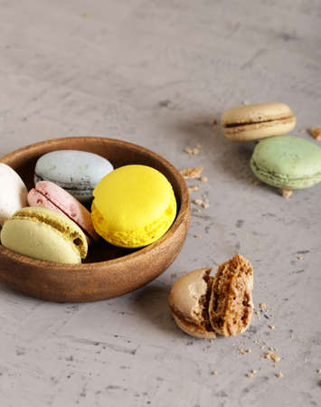 almond macaroon cookies in a wooden bowl