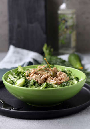 cod liver salad for healthy eating Stockfoto