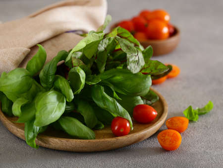 fresh basil and lettuce and tomatoes Stockfoto