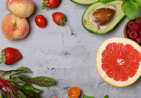 fruits and vegetables for healthy eating and dieting Stockfoto
