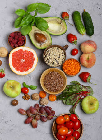 vegetables, fruits and cereals for a healthy food and diet Stockfoto
