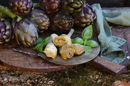 natural purple vegetables artichokes for salad and canning