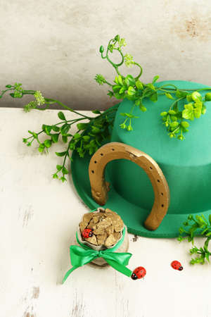 green hat and gold for St. Patricks Day