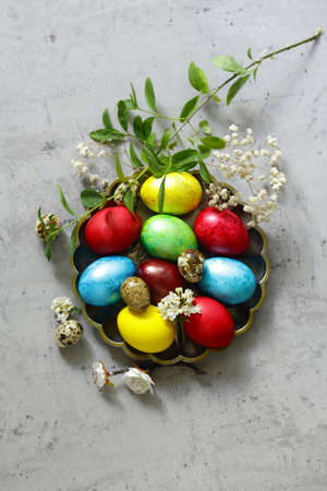 traditional easter decorative eggs for the holiday