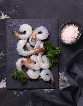 fresh raw peeled shrimp on the table