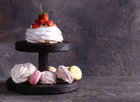 meringue desserts with fresh berries