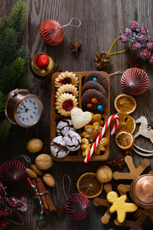 christmas background cookies and decorations for holiday and gifts
